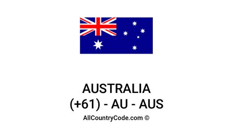 Australia 61 AU Country Code (AUS)   All Country Code